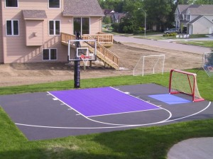 Basketball and football court in a Backyard