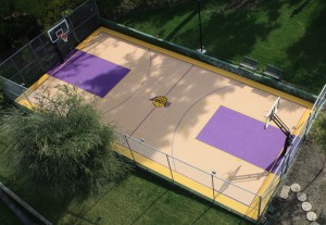 Mini Lakers court in patio