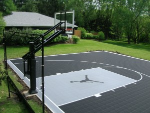 Outdoor Jordan Basketball Court in Backyard