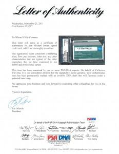 Certificado de autenticidad de la American Express de Michael Jordan
