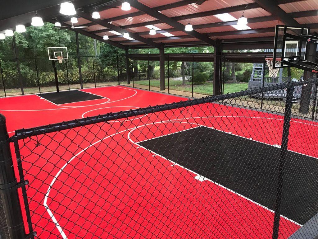 Pista de baloncesto interior para casa